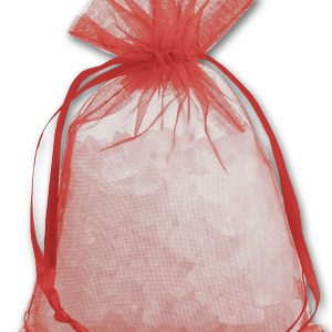 """Red Organdy Bags, 4 x 5 1/2"""" (12 Bags) - BOWS-SPC14-11"""