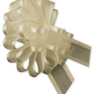 "Ivory Sheer Satin Edge Pull Bows, 18 Loops, 5/8"" Width (12 Bows) - BOWS-PR819-02"