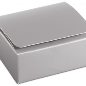 """Silver 4-Truffle Confectionery Boxes, 3 3/8x3 1/16x1 5/16"""" (100 Boxes) - BOWS-CFEC-4SLV"""