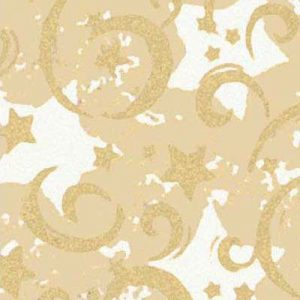 "Gold Stars & Swirls Gift Wrap, 24"" x 100' (1 roll) - BOWS-X-4003C"