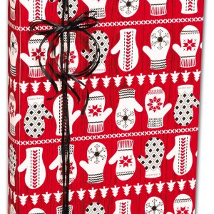 """Winter Mittens Gift Wrap, 24"""" x 100' (1 roll) - BOWS-M-3162C"""