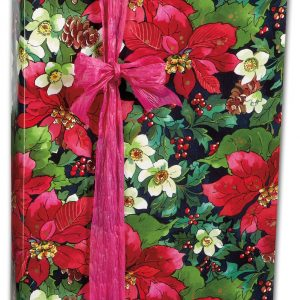 """Pinecones and Poinsettias Gift Wrap, 24"""" x 100' (1 roll) - BOWS-X-5312C"""