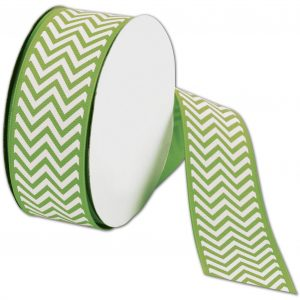 "Apple Green Chevron Ribbon, 1 1/2"" x 25 Yds (1 Roll) - BOWS-CHEV-550"