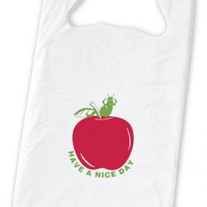 "Apple Pre-Printed T-Shirt Bags, 11 1/2 x 7 x 23"" (1000 Bags) - BOWS-17-01"