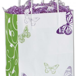 "All a Flutter Shoppers, 8 1/4 x 4 3/4 x 10 1/2"", Mini Pack (25 Bags) - BOWS-15-MCUB-AAF"