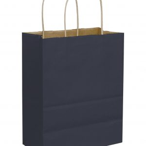 """Dark Blue Color-on-Kraft Shoppers, 8 1/4x4 1/4x10 3/4"""" (250 Bags) - BOWS-15-080409-3"""