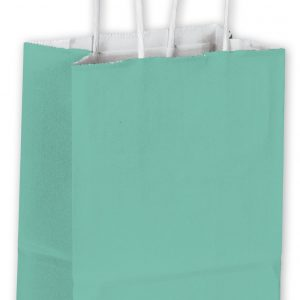 "Aqua Cotton Candy Shoppers, 5 1/4 x 3 1/2 x 8 1/4"" (250 Bags) - BOWS-15-050309-89"