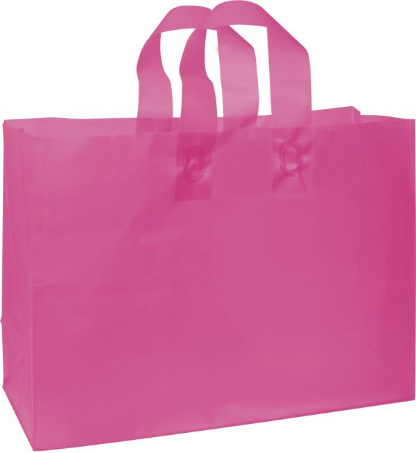 """Cerise Frosted High Density Shoppers, 16 x 6 x 12"""" (250 Bags) - BOWS-268-160612-19"""
