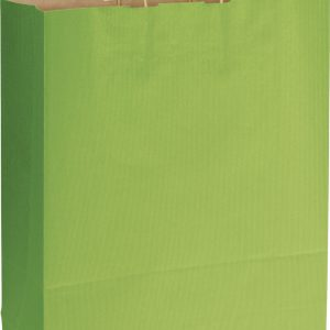 "Apple Green Varnish Stripe Shoppers, 16 x 6 x 19"" (200 Bags) - BOWS-15-160620-55"