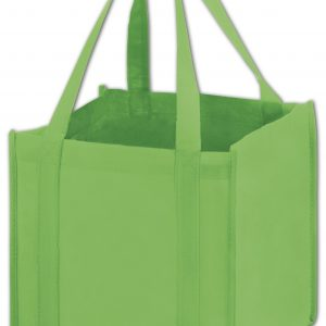 """Lime Unprinted Non-Woven Tote Bags, 10 x 10 x 10"""" (100 Bags) - BOWS-101010-01-UP"""
