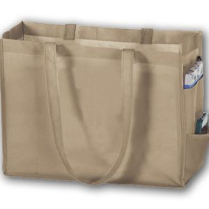 "Tan Unprinted Non-Woven Tote Bags, 16 x 6 x 12"" (100 Bags) - BOWS-20617-06-UP"