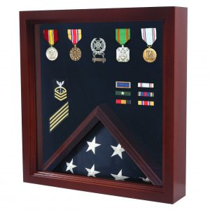 Military Flag and Medal Display Case - Shadow Box - FG-MHDCCHERRY
