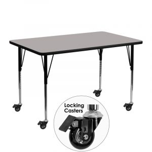 """24"""" x 48"""" Locking Casters Rectangular Activity Table w/ 1.25"""" High Pressure Grey Laminate Top and Adjustable Legs (1 Table)"""