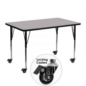 """24"""" x 48"""" Locking Casters Rectangular Activity Table w/ Grey Thermal Fused Laminate Top and Adjustable Legs (1 Table)"""
