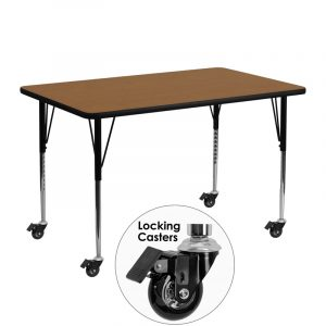 """24"""" x 48"""" Locking Casters Rectangular Activity Table w/ Oak Thermal Fused Laminate Top and Adjustable Legs (1 Table)"""