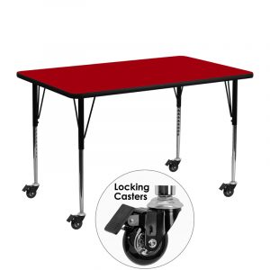 """24"""" x 48"""" Locking Casters Rectangular Activity Table w/ Red Thermal Fused Laminate Top and Adjustable Legs (1 Table)"""