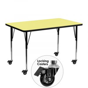 """24"""" x 48"""" Locking Casters Rectangular Activity Table w/ Yellow Thermal Fused Laminate Top and Adjustable Legs (1 Table)"""
