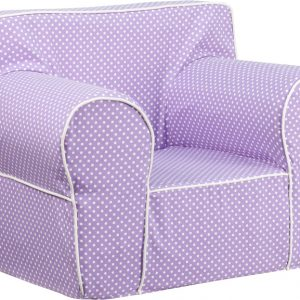 24.5'' Oversized Lavender Dot Kids Chair w/ White Piping (1 Chair)