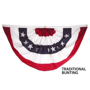 18in x 36in Super Tough Polyester Pleated Fan, Traditional Bunting - FG-USA1_53SPF-T