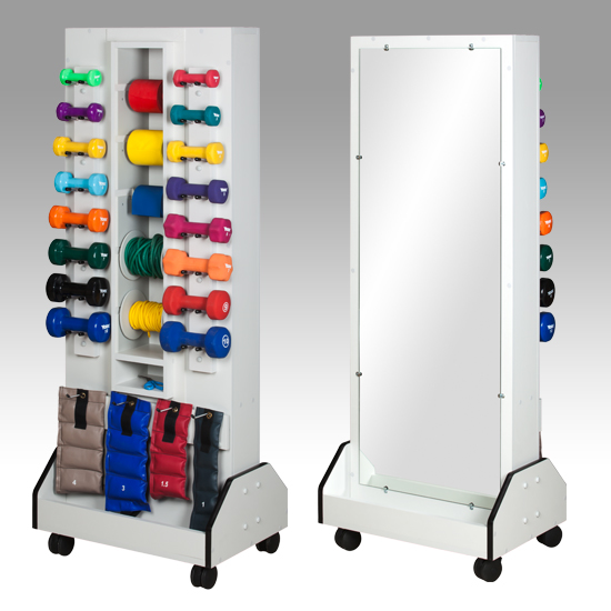 """25.5"""" x 18"""" x 65"""" White Celestial DualRac Mobile Weight Rack - with Mirror - CL-5121M"""