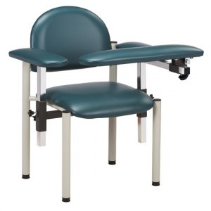 Phlebotomy Equipment - Slate Blue SC Series, Padded, Blood Drawing Chair with Padded Arms - CL-6050-U
