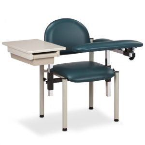 Phlebotomy Equipment - Slate Blue SC Series, Padded, Blood Drawing Chair with Padded Flip Arm and Drawer - CL-6059-U