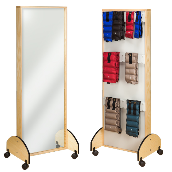 """26.5"""" x 21"""" x 72"""" Mobile Adult Mirror with Cuff Weight Rack - CL-6210-9"""