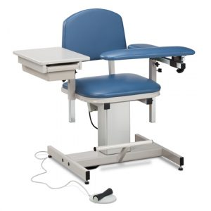 Phlebotomy Equipment - Royal Blue Power Series, Blood Drawing Chair with Padded Flip Arm and Drawer - CL-6342