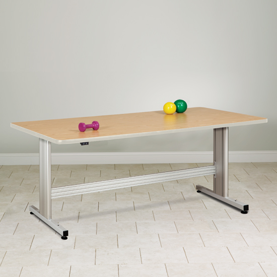 """66"""" x 48"""" x 27""""- 39"""" Natural Colored Therapy Table with Electric Height Adjustment - CL-77-42E"""