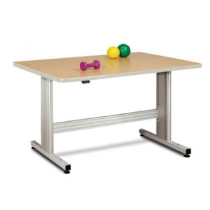 """48"""" x 36"""" x 27""""- 39"""" Natural Colored Group Therapy Table with Electric Height Adjustment - CL-77-43E"""