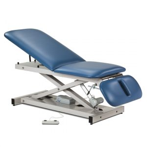 """76"""" x 27"""" x 18""""-35"""" Royal Blue Open Base Power Table with Adjust. Backrest & Drop Section - CL-80330"""