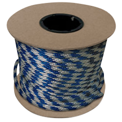 "Halter - Lead Rope - Blue & Silver - Braided - MFPP 5/8"" x 200', 2300 lbs Tensile (1 Spool)"