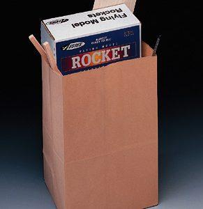 """8-1/4"""" x 5-5/16"""" x 13-3/8"""" Kraft Shorty Market Paper Bag (57 lb.) (400 per sleeve)"""