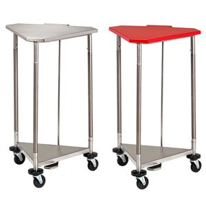 "18"" Red Stainless Steel Triangular Hamper with Lid - CL-HS-54R"