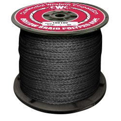 "PolyPro Hollow Braid Rope - Black - 1/4"" x 1000', Size #8, 440 lbs Tensile (1 Spool)"