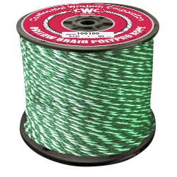"""PolyPro Hollow Braid Rope - Green - 1/4"""" x 1000', Size #8, 440 lbs Tensile (1 Spool)"""