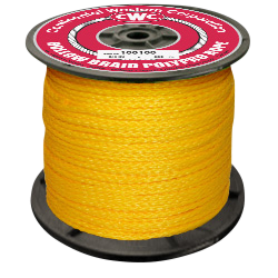"""PolyPro Hollow Braid Rope - Yellow - 1/4"""" x 1000', Size #8, 440 lbs Tensile (1 Spool)"""
