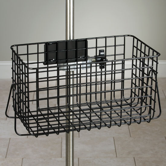 IV Pole Black Heavy Duty Wire Basket (Universal Clamp Sold Separately) - 12x6x6-1/2 - CL-IV-52B