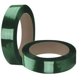 "16 X 6 Polyester Strap (Green) - 3/4"" X 3000', .04 Thickness, Lubed AAR Finish, 1900 lbs Tensile (1 Coil)"