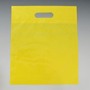 """11"""" x 12"""" Poly Tote Bag with Die-Cut Handle - Yellow (1.25 mil) (1000 per carton)"""