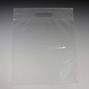 """11"""" x 12"""" Poly Tote Bag with Die-Cut Handle - Clear (1.25 mil) (1000 per carton)"""