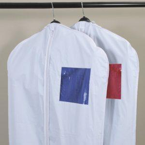 "32"" x 72"" Vinyl Garment Bag with Window - White (3 Gauge) (25 per bag)"