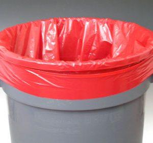 "12"" x 8"" x 21"" Low Density Gusseted Trash Bags - Red (2 mil) (500 per carton)"