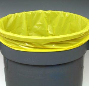 "15"" x 9"" x 23"" Low Density Gusseted Trash Bags - Yellow (1.5 mil) (500 per carton)"