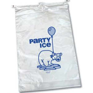 "14-1/4"" x 28"" + 2"" Ice Bag with Single Drawstring and Message - 20 lbs. (2 Mil) (250 per carton)"