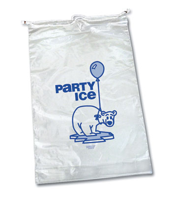 """14-1/4"""" x 28"""" + 2"""" Ice Bag with Single Drawstring and Message - 20 lbs. (2 Mil) (250 per carton)"""