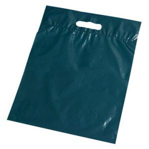 "11"" x 12"" Poly Tote Bag with Die-Cut Handle - Dark Green (1.25 mil) (1000 per carton)"