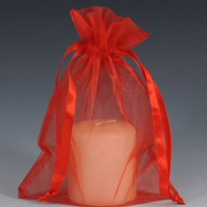 """5"""" x 7"""" Organza Bag with Drawstring - Red (10 per package)"""
