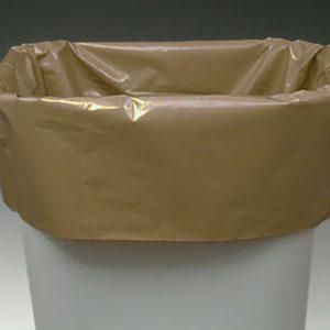 "15"" x 9"" x 32"" Low Density Gusseted Trash Bags - Buff (1 mil) (500 per carton)"