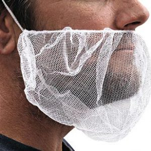 "18"" Nylon Mesh Beard Cover - White (100 per bag)"